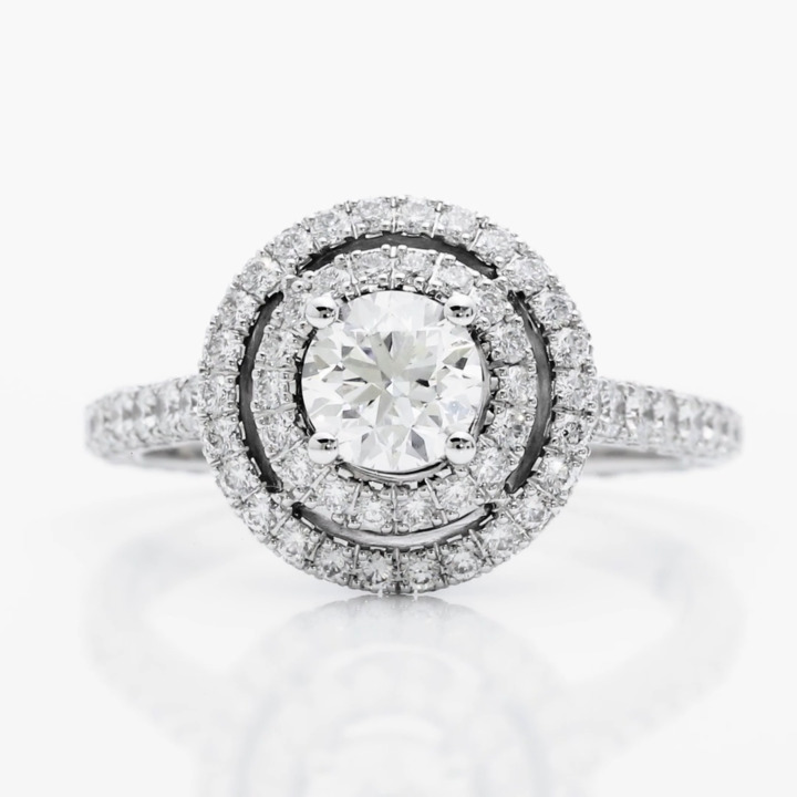 Twin Constellation Round Diamond Engagement Ring