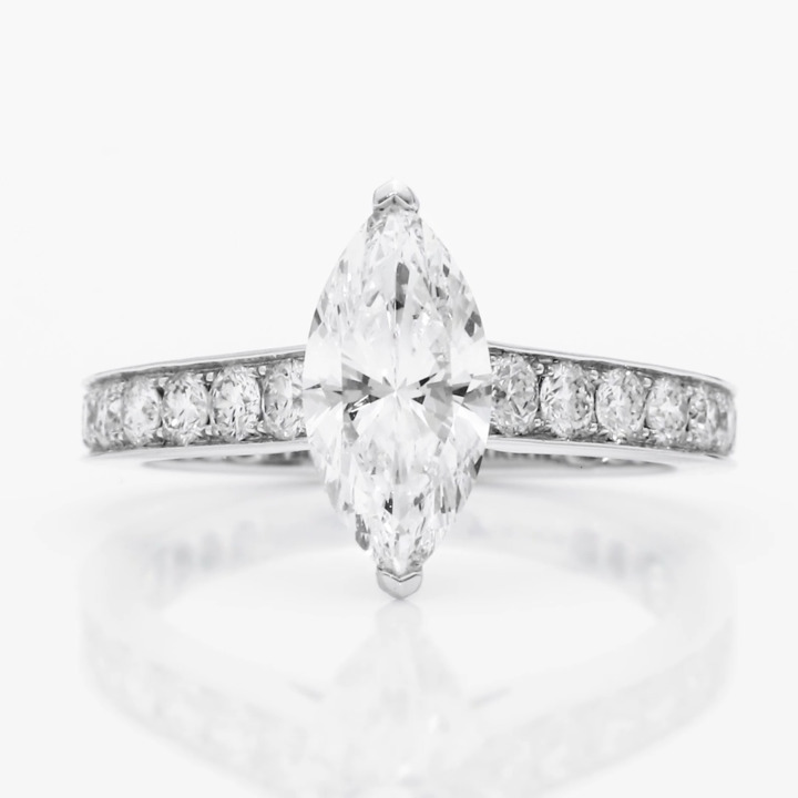 Flame Marquise Cut Diamond Engagement Ring
