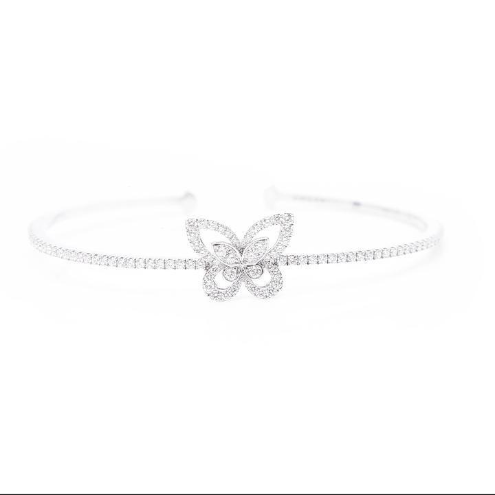 Butterfly Silhouette Diamond Bangle