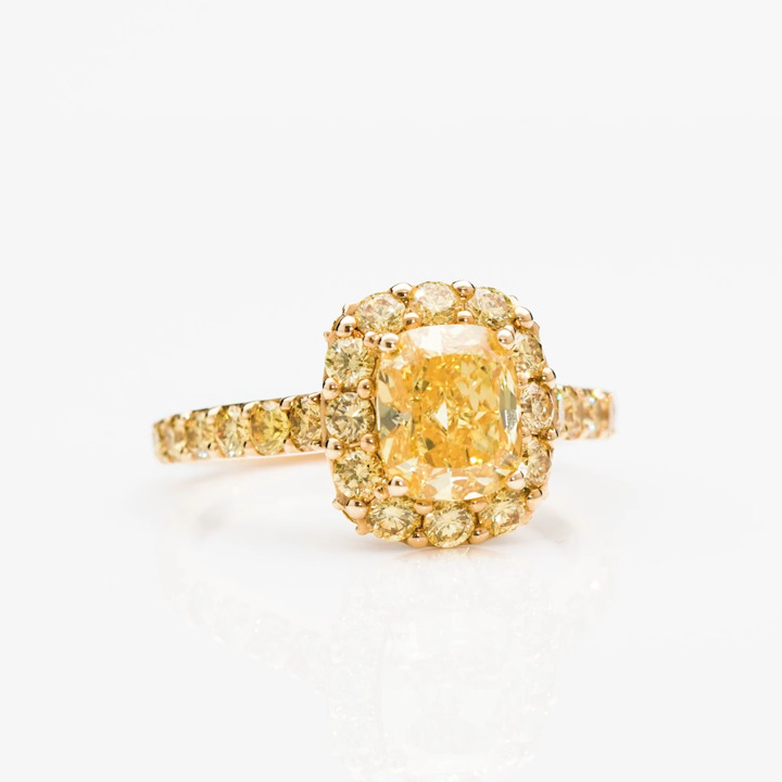 Icon Cushion Cut Yellow Diamond Engagement Ring