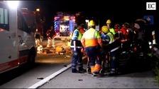 Un kamikaze provoca un brutal accidente con un muerto y cinco heridos