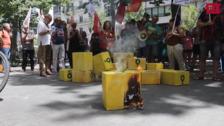 Protesta de Comisiones Obreras contra la precariedad de los riders en Valladolid