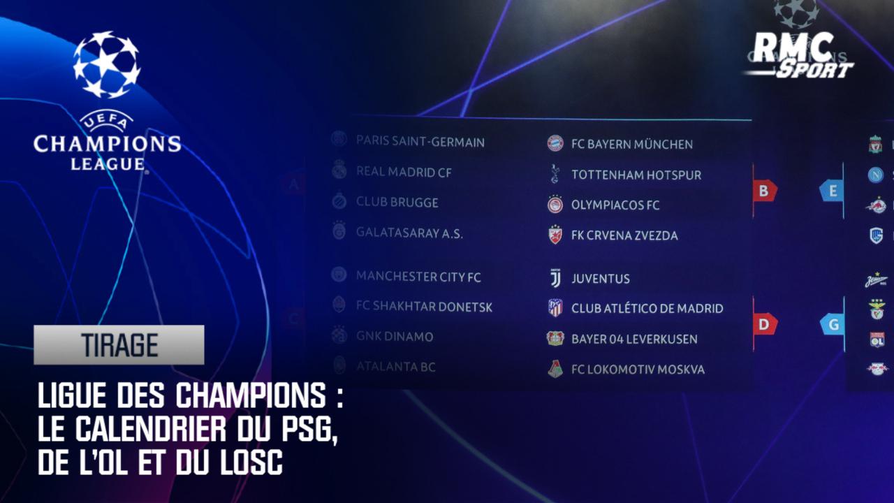 Calendrier Ligue De Champion.Ligue Des Champions Le Calendrier Du Psg De L Ol Et Du Losc